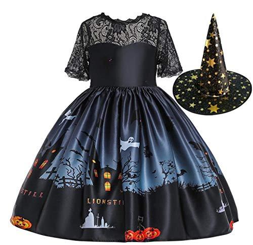 LOBTY Déguisement Enfant Fille Robe de Sorcière Halloween Robe Princesse Costume Enfant Adultes sorcière pour Fille Chapeau Carnaval ou Halloween