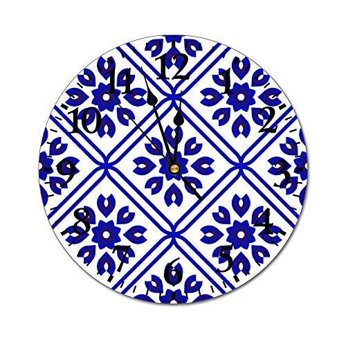 happygoluck1y blauwe en witte keramische tegel patroon Muur Klokken Batterij Bediende Decoratieve PVC Wandklok Niet tikken Stilte voor Woonkamer, Kwekerij, Kantoor, Slaapkamers