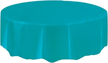 """Round Teal Plastic Tablecloth, 84"""""""
