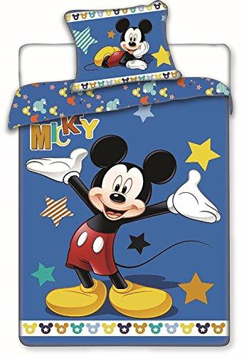 Disney - 0222 - Jerry Fabrics Parure de Lit, Coton Mickey Mouse Multicolore (Bleu Foncé) Housse de couette 140 x 200 cm et Taie 70 x 90 cm