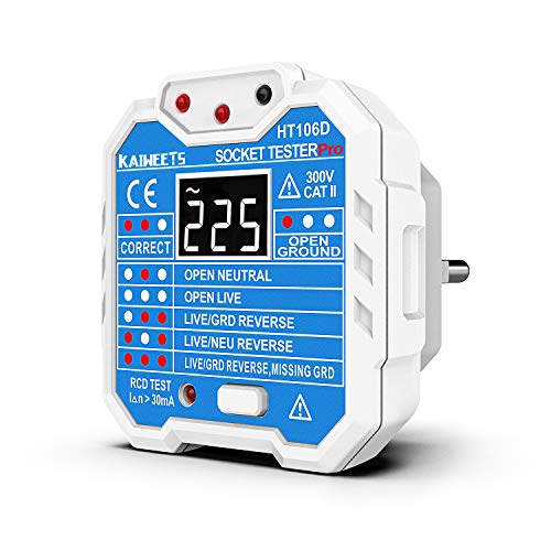 KAIWEETS® Steckdosentester, Diagnose-Stecker mit Kontrollleuchten-Anzeige, misst Sockel-Spannung, CAT II 300 V (Blau EU-Stecker)