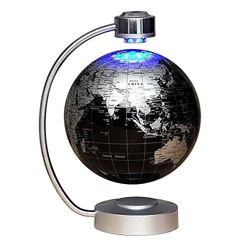 NHSUNRAY MagneticLevitationFloatingGlobe 8''LevitationRotatingBallLEDIlluminatedWorldMapEarthforDesktopOfficeHomeDecorChildrenLearnGeographyKnowledge (Black)