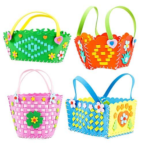 TOYANDONA 4Pcs Vlies Handwerk Kinder Gewebte Korb Kit DIY Süßigkeiten Blumenkorb Herstellung Material für Heimkinder Anfänger Kunsthandwerk