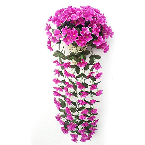 WanTo Flor Violeta Artificial decoración orquídea de Seda Flor Falsa Vid Colgar en la Pared Cesta de San Valentín Fiesta de Bodas decoración de la Flor, púrpura