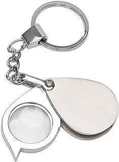 TXIN 8X Portable Folding Magnifier Key Chain Loupe Metal Antique Magnifier Magnifying Eye Glass Lens Keyring
