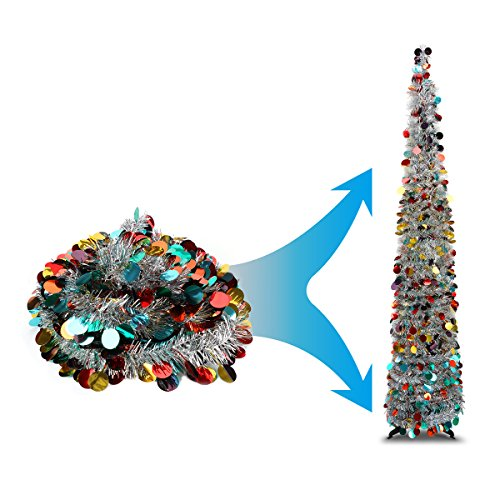Joy&Leo 5 Foot Silver Multicolored Sequin Pop Up Tinsel Christmas Tree, Easy to Assemble and Store, for Small Spaces Apartment Fireplace Party Home Office Store Classroom Xmas Decorations