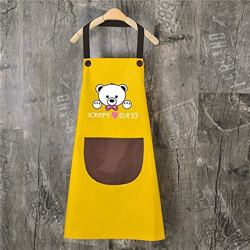 zhifan Delantal La Cocina en casa Puede limpiarse Las Manos Moda Femenina Impermeable Hombres a Prueba de Aceite Blusa de Manga Larga Trabajar Adultos Yellow Curry Pocket.
