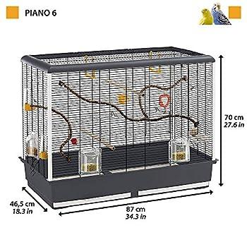 Ferplast Piano 6 Cage, Livrée avec Accessoires Mangeoires Modulables et Pivotantes en Métal Peint Noir et Bac en Plastique Marron pour Canaris, Perruches et Petits Oiseaux Exotiques 87 x 46,5 x 70 cm