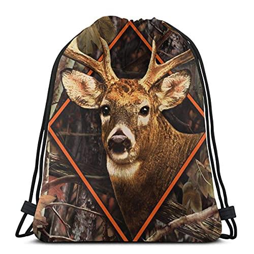 Lmtt Bolsas con cordón Mochila de camuflaje de ciervo Buck Bolsas de cuerda de tirón Bolsas de almacenamiento de deportes a granel Gimnasio para mujeres Mochila de viaje impermeable como imagen