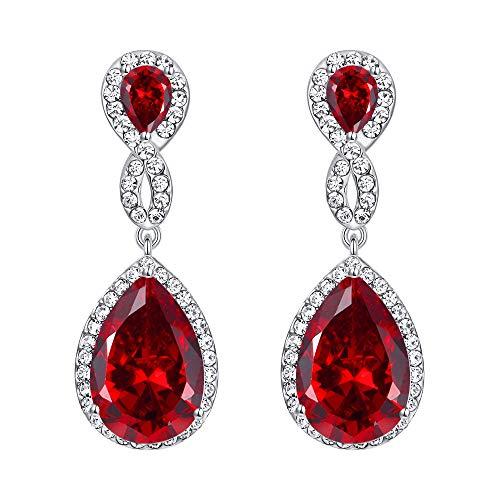 Orecchini donna,EVER FAITH Cristallo austriaco Zircone Matrimonio 8-forma Orecchini pendenti Rosso Argento-fondo