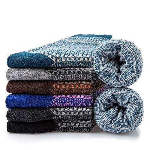 6 Pairs Mens Wool Socks Warm Thermal Winter Socks Men (B2)