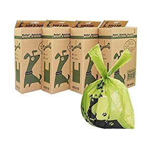 PET N PET Dog Poop Bags, Earth-Friendly Poop Bags with Easy-tie Handles Unscented Leak Proof Dog Bags for Poop, Dog Waste Bag Measures 8 x 15 Inches