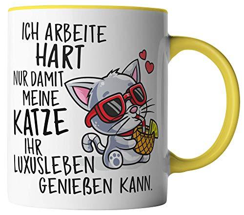 Van Verden Tazza – Ich arbeite hart nur damit meine Katze sein LuxusLeben kann – Stampa su entrambi i lati – idea regalo tazza da caffè, colore tazza: bianco/giallo
