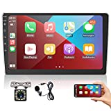 2 Din Autoradio 9 Zoll Touchscreen, Apple CarPlay & Android Auto Universal Car Multimedia Player mit Bluetooth FM Radio, Rückfahrkamera + Mikrofon, Mirror Link