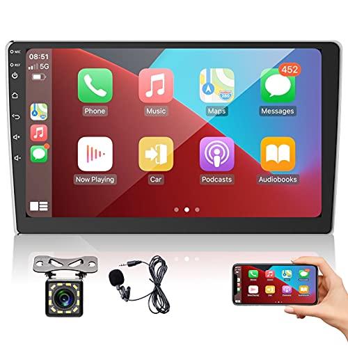 2 DIN Autoradio Pantalla táctil de 9 Pulgadas, Apple CarPlay y Android Auto Reproductor Multimedia Universal para automóvil con Radio FM Bluetooth, cámara de visión Trasera + micrófono, Mirror Link