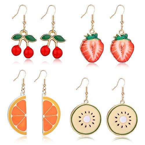 D.Rosse Creative Assorted Cute Fruits earring Cherry Strawberry Watermelon Dangle Drop Earrings Set for Women Girls (Cherry - strawberry - orange - kiwi fruit)