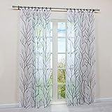 HongYa 1 cortina transparente con cinta fruncidora, cortina de voile, cortina para ventana, diseño de ramas, H/B 225/140 cm, color blanco y gris