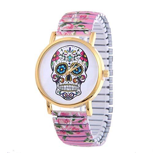 Uhr Beobachten Farbe Schädel Uhr Gedruckt Stahlband Stretch Tisch Damenmode Pull Armbanduhr Modetrend Studentenuhr-Pink