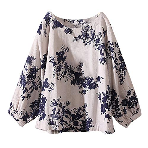 JURTEE Damen Bluse, Große Größen Baumwolle Tops T-Shirt Vintage Boho Floral Lose Oberteile Sommer Bluse(XXXXX-Large,Blau)