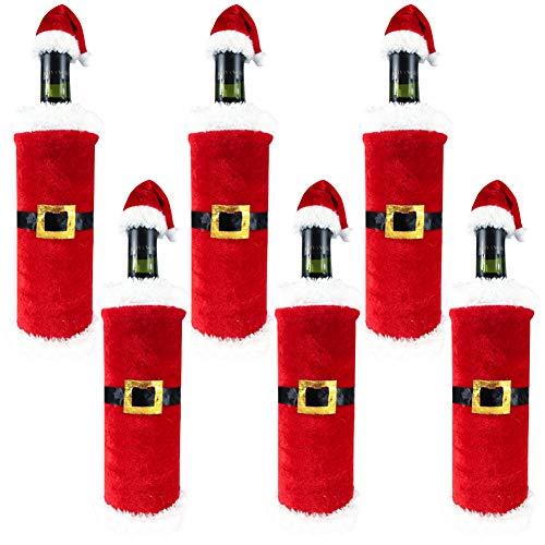 Tapa de botella de vino de Navidad, 6 piezas Bolsas de botella de vino de Papá Noel Suéter Tapa de botella de vino para mesa de fiesta de Navidad Decoraciones de año nuevo Envoltura de regalos