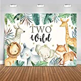 Mocsicka Two Wild Birthday Backdrop 7x5ft Jungle Theme Safari Animals 2nd Background Banner Vinyl Boy's Girl's 2 Years Old Birthday Party Decorations Photo Booth Props (7x5ft)