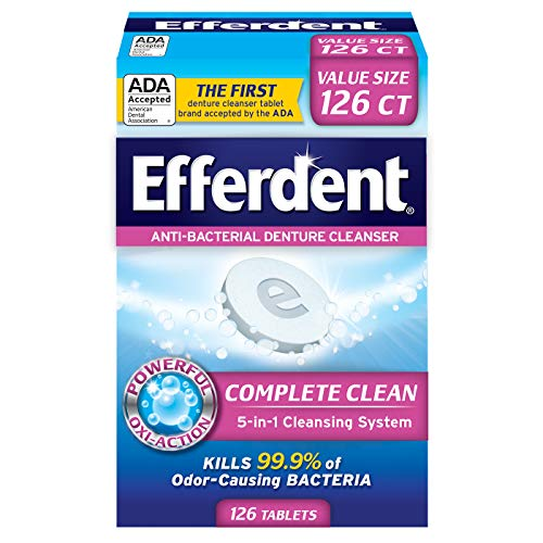 Efferdent Anti-Bacterial Denture Cleanser | 5-in-1 Cleansing System | 126 Count (Pack of 1)