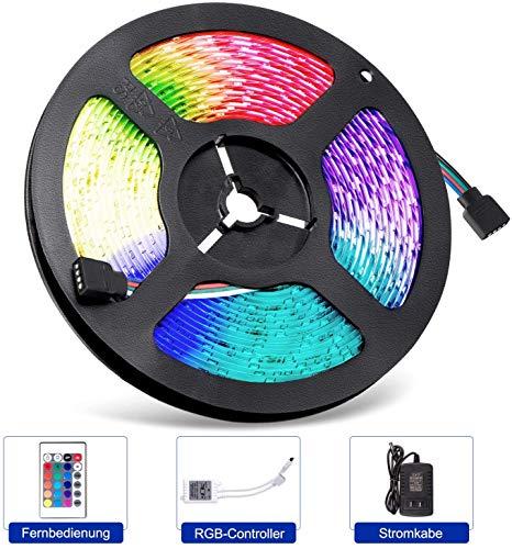 Odegltina Tira de luces LED de 5 m, 12 V, resistente al agua, flexible, 300 ledes (SMD 3528), con fuente de alimentación y mando a distancia para cambiar de color