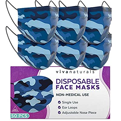 Blue Camo Face Mask (50 Pack) - 3-Ply Womens and Mens Face Mask, Premium Designed Face Mask with Comfortable Earloops & Adjustable Metal Nose Strip, Disposable Face Masks for Indoor and Outdoor Use by Viva Naturals