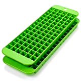 Mini ice cube trays – 2 pack – 90 square Molds – Twist to Release – Dishwasher Safe – Stackable and Odor Free - Does Not Crack While Freezing – Green