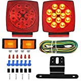 Funmit LED Trailer Light Kit Utility Sealed Red Square Waterproof Submersible Turn Stop Tail License 12V Lamp Compatible with Truck Snowmobile Boat