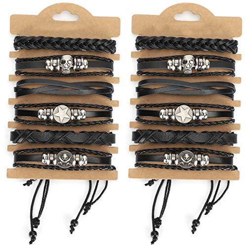 WENHANGshidai 12 pulseras hechas a mano de piel de vaca dividida a la moda muñeca brazalete decoración unisex trenzado para fiestas fechas