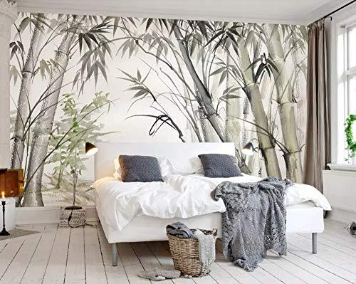 Papier Peint 3D Forêt De Bambous Peinte À La Main Moderne Papier Peint Intissé Décoration Murale