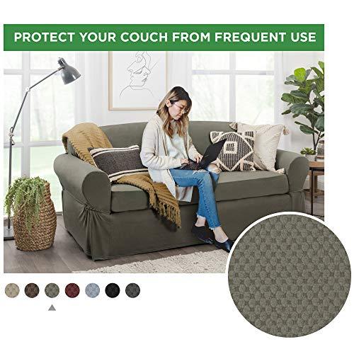 MAYTEX Pixel Ultra Soft Stretch Sofa Slipcover, Dusty Olive