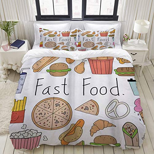 Yaoniii bedding - Duvet Cover Set, Fast Food Lettering Aliment Doodle Ice Cream Sandwich Hamburger Fries Donuts Pizza Multicolor,3-Piece Comforter Cover Set 200 x 200 cm +2 Pillowcases 50 * 80cm