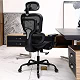 Office Chair, KERDOM Ergonomic Desk Chair, Comfy Breathable Mesh Task Chair with Headrest High Back, Home Computer Chair 3D Adjustable Armrests, Executive Swivel Chair with Roller Blade Wheels (Black)