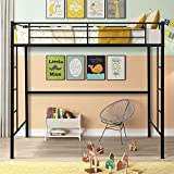 Metal Pipe Twin Size Loft Bed with Stairs,Heavy Duty Twin Loft Bed with Shelves, Modern Loft Bed Frame 2 Ladder and Guard Rails for Kids Teens Adult (Black)