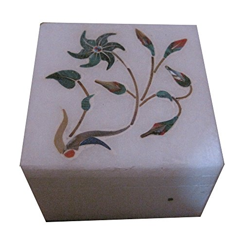"Marble Box Indian Handmade Semi Precious Stone Inlay Art And Craft Box 6"" X 4"" Inch"