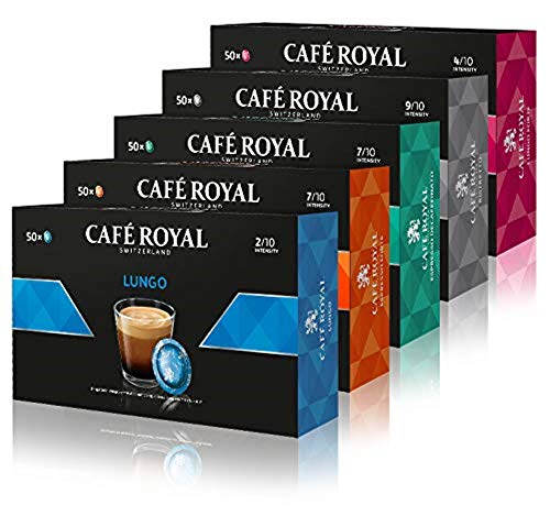 Café Royal Office Pads Variety Pack - 250 Kapseln kompatibel mit Nespresso Business Solutions - Ristretto, Espresso Forte, Lungo, Lungo Forte, Decaffeinato