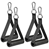 COYKIRK Resistance Bands Handles with TPR Waffle Grip, Heavy Duty Fitness Handles with Carabiners, Exercise Grips with Solid ABS Cores for Home Gym Strength Training Stretching, Upgraded (4PCS Black)