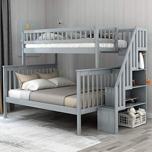 Twin Over Full Bunk Bed Frame,Mission Style Wood Twin Over...