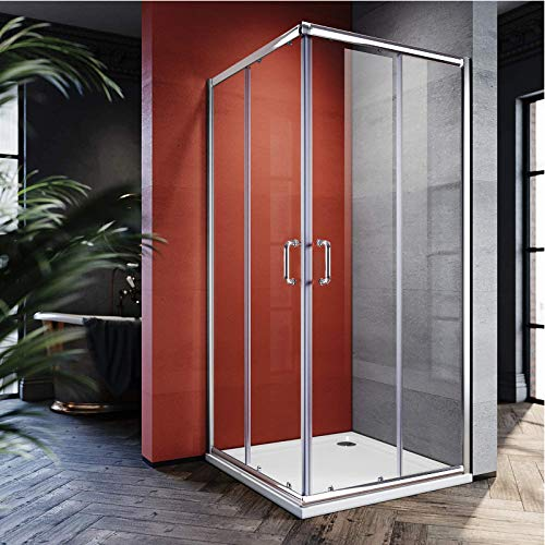 Product Image of the ELEGANT Double Opening Sliding Shower Enclosure, 36'' D. x 36'' W. x 72'' H. 2 Stationary Panel Glass Shower Door, 1/4'' Clear Glass, Chrome Finish