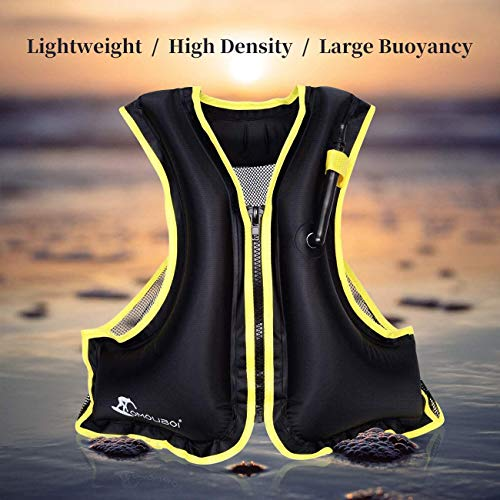 OMOUBOI Snorkel Vests Adults Inflatable Floatage Jackets Lightweight Kayak Buoyancy Vest Portable Floatage Vests for Diving Surfing Swimming Outdoor Water Sports (Suitable for 90-220lbs)