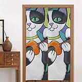 Mesllings - Cortinas de 86 x 143 cm, para dormitorio, un esmoquin y gato está jugando el ukelele a Little Blu Kitchens Cortinas para puerta de cocina tipo largo para decoración de puertas de cocina