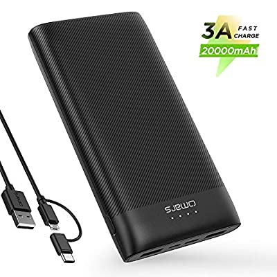 USB C Power Bank Portable Charger 20000mAh Omars External Battery Pack 15W Max Output Fast Phone Charging Battery Bank with 3 Outputs& 2 Inputs Portable Battery Charger for iPhone Samsung iPad Tablet