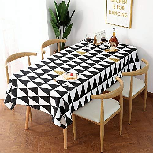 Tafelkleed van katoen en linnen, Scandinavisch design, in wit en zwart, van katoen en linnen, creatief en fris, rechthoekig, gouden lijn, waterdicht, 100 x 140 cm