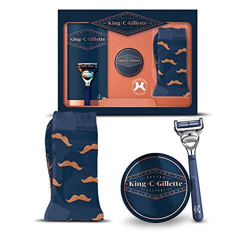 King C. Gillette Máquina de Afeitar y Perfilar Hombre + 1 Cuchilla de Recambio + Bálsamo para Barba + Calcetines, Regalos Originales para Hombre