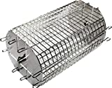 OneGrill Performer Series Universal Fit Grill Rotisserie Spit Rod Basket; Stainless Steel Tumble & Flat Basket in One. (Fits 5/16 Inch Square Spits)