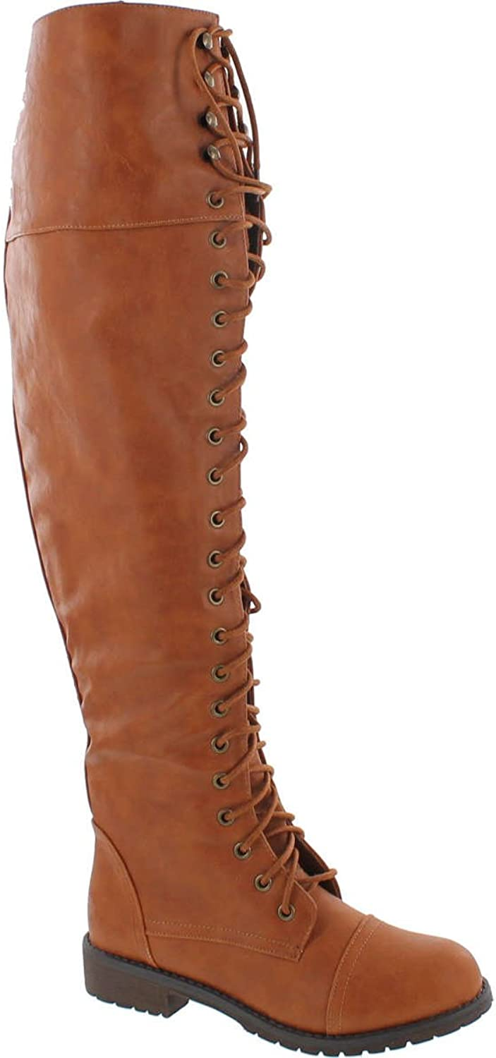Nature Breeze Lug-48 Women Leatherette Over The Knee Lace Up Combat Boot