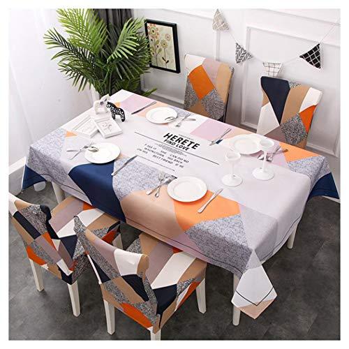 GUOCU Mantel Rectangular Impermeable Antimanchas Algodón Lino Mantel de Mesa Decoración para Cocina Comedor Fiesta Mantel Silla Juego de Tela Herete Seis Fundas para sillas