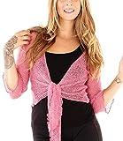 SHU-SHI Womens Sheer Shrug Tie Top Cardigan Lightweight Knit,Pink,One Size